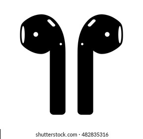 Airpods wireless headphones flat vector icon for apps and websites
