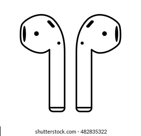 Airpods wireless headphones thin line art vector icon for apps and websites