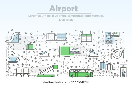 Airport advertising poster banner template. Vector thin line art flat style design icons for website banners and printed materials. Check-in counter, cafe, boarding pass, escalator, waiting hall etc.