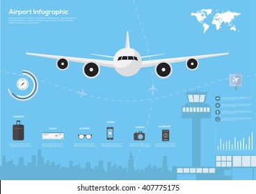 Airport, air travel infographic with design elements. Infographic data. Vector illustration