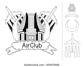 Airport, airplane, pilot school, air club emblem EPS8