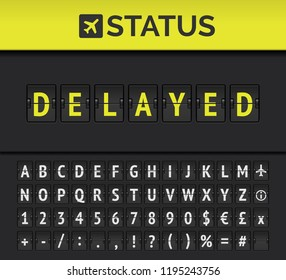 Airport analog flip board showing flight information of departure or arrival status: Delayed with aircraft sign icon and alphabet. Vector