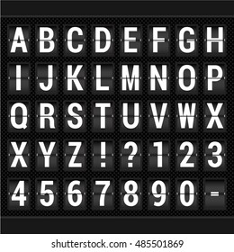 Airport arrival and departure display alphabet. Vector scoreboard letters and symbols alphabet airport mechanical panel.