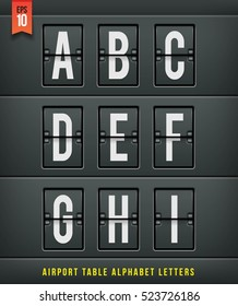 Airport arrival table alphabet. Vector illustration.