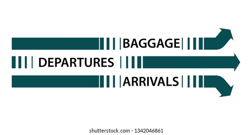 Airport arrow signs at terminal for travel advertising concept. Signs on floor. Vector illustration.