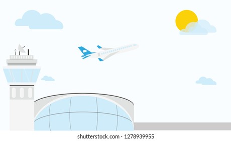 Airport with ATC and Plane