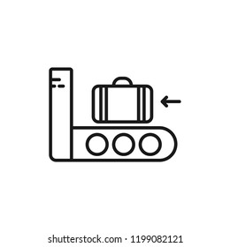 Airport baggage security scanner outline icon. linear style sign for mobile concept and web design. Luggage scanner simple line vector icon. Symbol, logo illustration. Pixel perfect vector graphics
