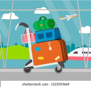 Airport baggage Trolley with suitcases, vector illustration. Luggage with bags for travel