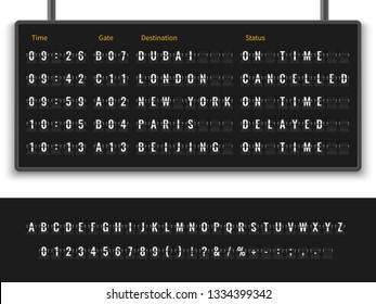 Airport board. Font alphabet info panel arrival departure display timetable destination flight terminal, realistic vector illustration