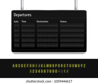 Airport board. Mechanical scoreboard. Realistic scoreboard with flip symbols. Vector template for your design.