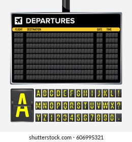 Airport Board Vector. Realistic flip scoreboard template. Black Airport 3d  with alphabet and numbers. Information analog panel. Destination time. travel Illustration