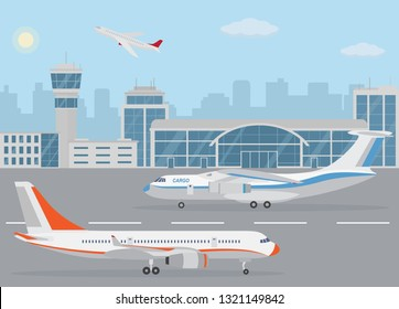Airport building and airplanes on runway. Concept of air transport. Flat style, vector illustration.