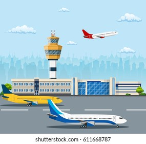 Airport building and airplanes on runway. Control Tower and Airplane on the Background of the city, Travel and Tourism Concept