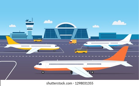 Airport building exterior with buses and airplanes. Vector flat style illustration.