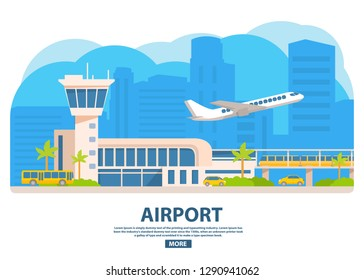 Airport building horizontal banner.Travel concept.Different types of public transport. Electric train,yellow taxi cab,tourist bus.Passenger airlines plane.Dispatching tower of the terminal flat vector