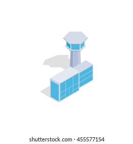 Airport building icon in isometric 3d style isolated on white background