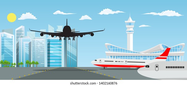 Airport building and planes with nice cityscape in background. Vector illustration.