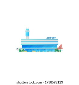 Airport building, terminal, traffic control tower isolated icon. Vector modern city airport facade, taxis and buses, sky harbor. Airplanes and control tower, plane jet at airfield, public skyline port