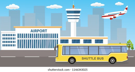 Airport buildings, control tower, landing modern airplane and airport shuttle bus on road,flat vector illustration