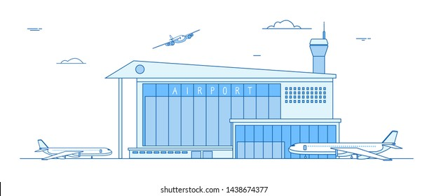 Airport buildings. Landing airplanes international terminal building aircraft runway business cargo transportation line vector concept. Building airport, plane departure and arrive illustration