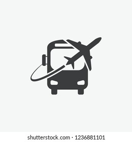 Airport Bus Shuttle Vector Icon