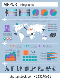 Airport business infographic presentation template layout design work map and air traffic icons vector illustration
