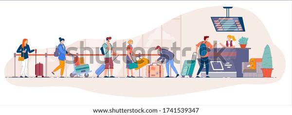 mostrador de facturación del aeropuerto. Cola de viajeros desde el mostrador de facturación de la terminal del aeropuerto para dejar el equipaje hasta la línea de seguridad. Personas portadoras de dibujos animados con base de justificantes en la cola para registrarse a partir