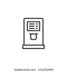 Airport check in terminal outline icon. linear style sign for mobile concept and web design. Self service machine simple line vector icon. Symbol, logo illustration. Pixel perfect vector graphics