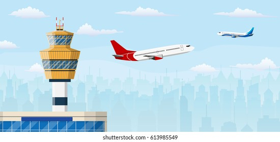 airport control tower and flying civil airplane after take off in blue sky with clouds and city skyline silhouette. vector illustration in flat design