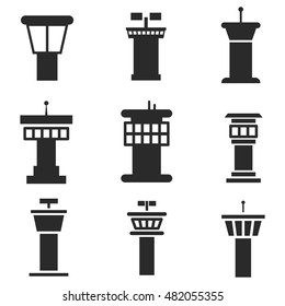 Airport control tower vector icons. Simple illustration set of 9 control tower elements, editable icons, can be used in logo, UI and web design