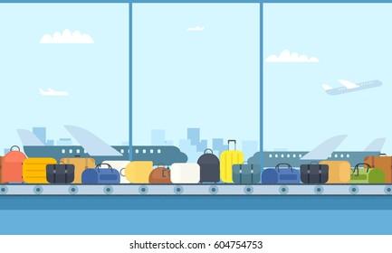Airport conveyor belt. Cartoon image
