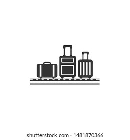 Airport conveyor belt with passenger luggage bags flat icon  - Vector. isolated on white background illustration
