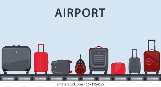 Airport conveyor belt with passenger luggage. Suitcase set. Airport baggage belt, luggage for travel, terminal conveyor. Baggage claim at terminal airport. Vector illustration, travel concept