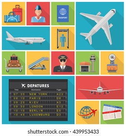 Airport decorative flat icons set with airplanes departures schedule pilot ticket luggage hangar passport isolated vector illustration