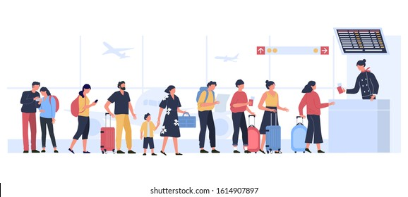 Airport departure area. Plane boarding flight register, tourists with luggage in landing queue check in. People waiting plane departure, travelers aircraft checking vector illustration