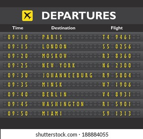 Airport departure arrival destination mechanical analog old style counter board template vector illustration
