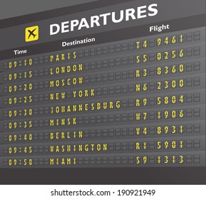 Airport departure arrival destination mechanical analog old style counter board print vector illustration