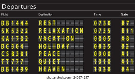 Airport Departures Board with Holiday Theme. Vector