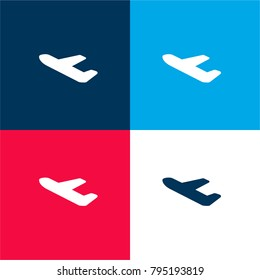 Airport Departures four color material and minimal icon logo set in red and blue