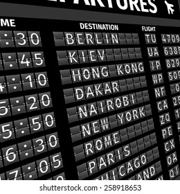 Airport electronic flip-flap board departure arrival and delay flight status information black digital display perspective vector illustration