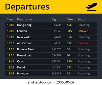 Airport electronic shedule departures, showing flights, time, destination, gate and status in real time. Vector quality illustration.