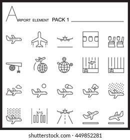 Airport Element Line Icon Set.Pack 1.Mono pack.Graphic vector logo set