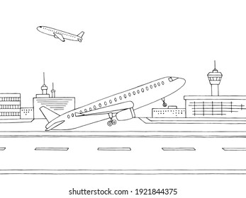 Airport exterior plane takes off graphic black white sketch illustration vector