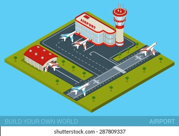 Airport flat 3d web isometric infographic concept vector. Terminal building, airfield, hangar, runway airstrip landing strip, airplane departure control tower. Block collection to build your own world