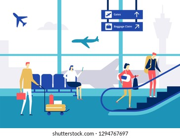 At the airport - flat design style colorful illustration. High quality composition with characters, man, woman in the terminal, waiting room, carrying baggage, waiting for a flight, on escalator