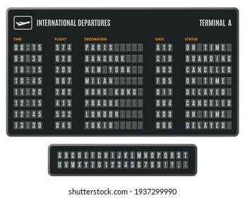 Airport flip board. Departures information scoreboard, flipping arrival countdown. Scoreboard flip airport info display vector illustration set
