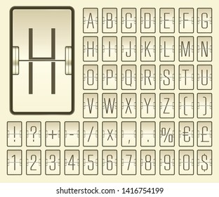 Airport flip board mechanical light alphabet with numbers for flight departure or arrival information showing. Beige terminal scoreboard font to display destination and timetable vector illustration.