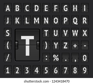 Airport flip mechanical board bold alphabet for departure information and timetable showing. Vector illustration