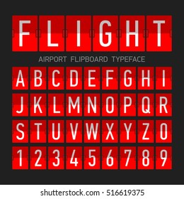 Airport flipboard flat style font, mechanical display typeface, letters and numbers.