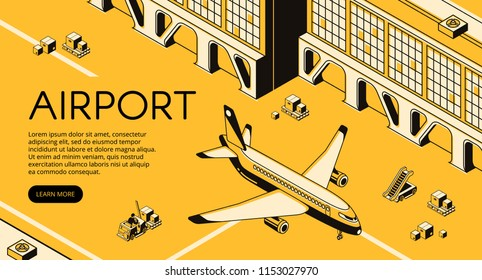 Airport freight logistics vector illustration of airplane, parcels on forklift loader pallet and passenger ladder. Delivery shipping and transit air transport isometric line and yellow halftone design